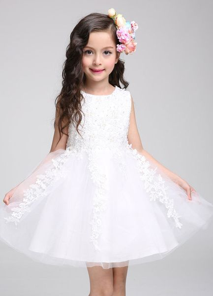 Princess Flower Girl Dress Lace Tulle Knee Length Beading Toddler's Pageant Dress