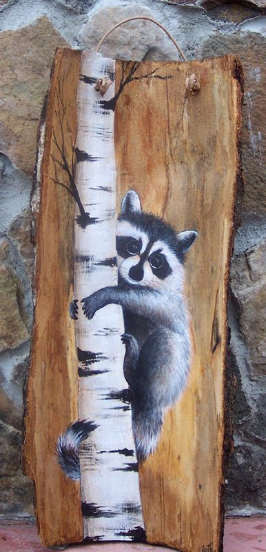free images of raccoons to paint on wood | Artwork by Suzie Thaller.