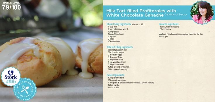 Milk Tart-filled Profiteroles with White Chocolate Ganache