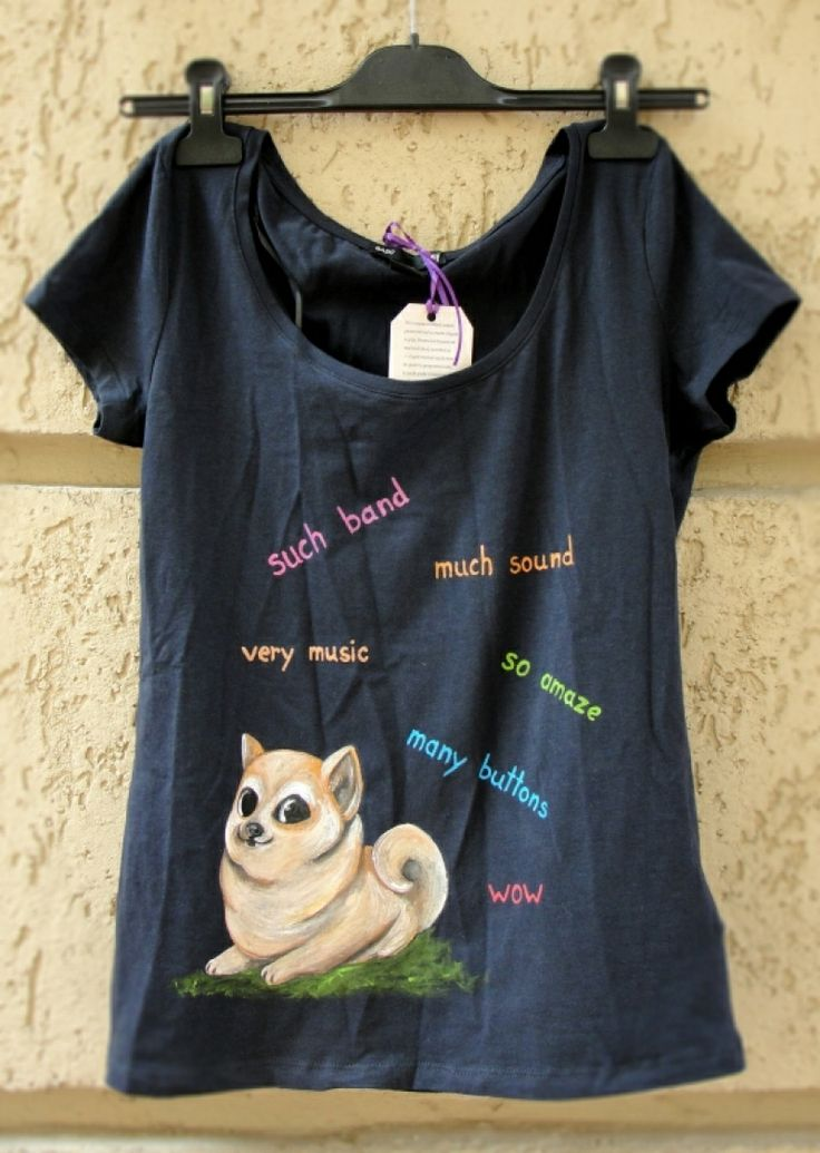 "Hand-painted t-shirt. Tricou pictat ""Doge"""