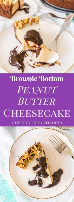 Peanut butter, chocolate, and cheesecake, what could be better? This brownie bottom peanut butter cheesecake recipe will please all the peanut butter lovers in your life!