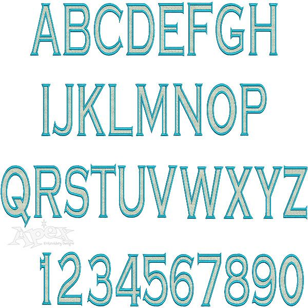 Copperplate two color embroidery font fill stitch inside