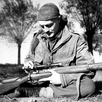 Canadian sniper with Lee-Enfield No. 4 Mk. I (T) with telescopic scope, Kapellen, Belgium, 6 Oct 1944. (Library and Archives Canada Photo, MIKAN No. 3596658) (I believe this to be S.L.A. Marshall of the Calgary Highlanders but can't be certain ~ BJ)
