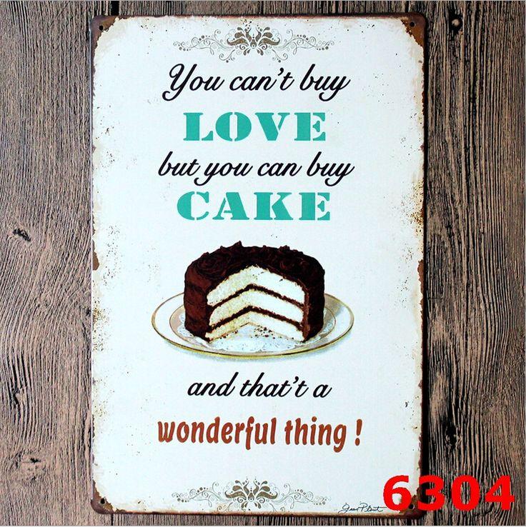 Вы не можете купить любовь, но вы можете купить торт Ретро Стены украшены Картинами Логотип Декор