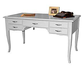 Scrivania in legno massiccio con 5 cassetti Studio bianca - 150x85x75 cm