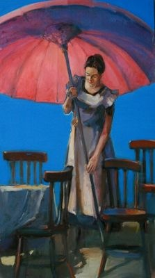 "Zaborowski's palette is subdued. There is often a mixture of beauty and a gnawing sense of melancholy in his paintings.  Woman With Umbrella | 70.75"" x 39.5"" 