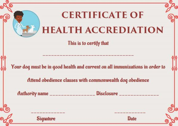 Dog Health Certificate for Travel Templates | Pet Health Certificate ...