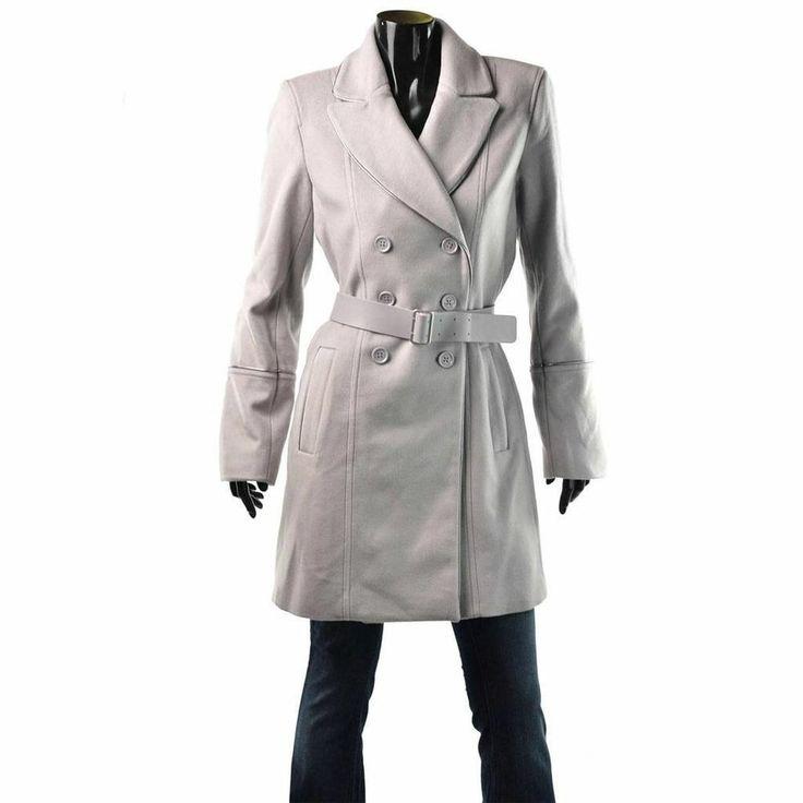 Armani Exchange Coat Womens A/X Leather Trim Wool Trench Jacket Size XL $298 NEW #ArmaniExchange #BasicCoat