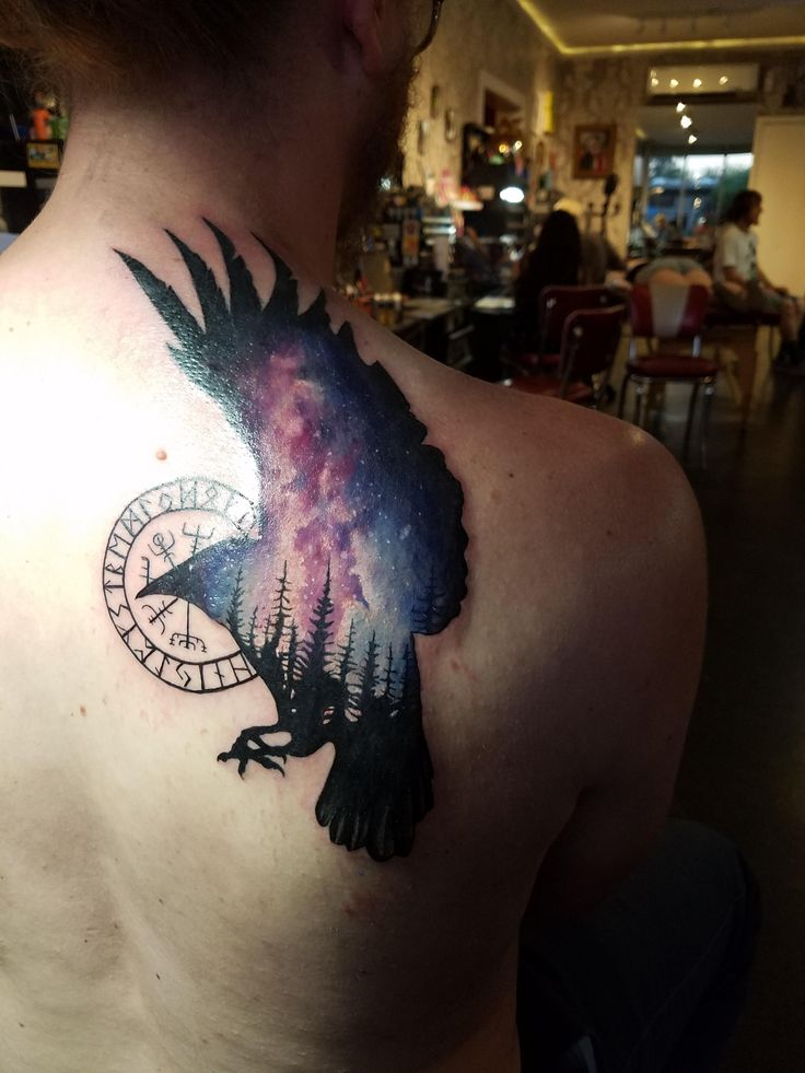 Norse galaxy raven by Johnny Jinx at broken clover social club in Tucson Arizona.