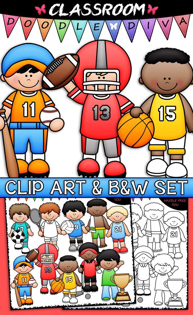 Sports Boys Clip Art B W Set Sports Boys Clip Art Thanksgiving Clip Art