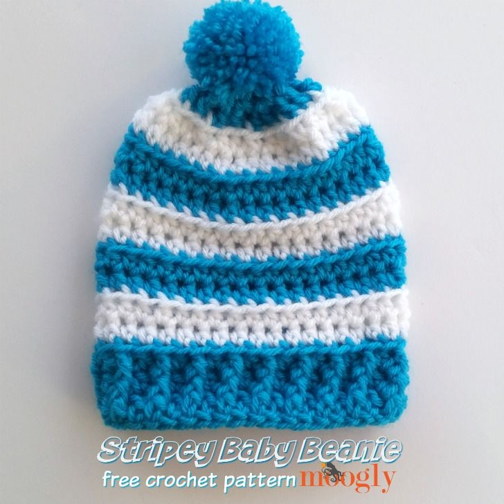 Keep little heads warm this winter with this cute stripey baby beanie by Moogly, made with Lion Brand Vanna's Choice!