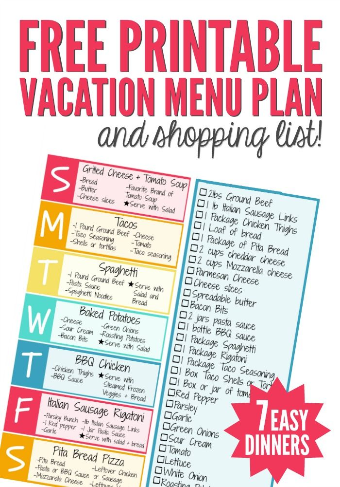 If you are headed to a vacation rental this summer use this Vacation Menu Plan and Shopping List to make packing a breeze. There are 7 simple, kid-friendly dinners you can make in any kitchen.  #HomeAway4Kids #AD