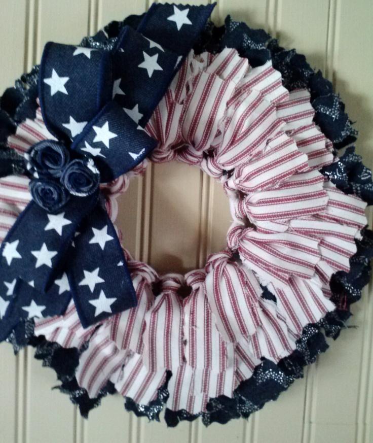 Fabric Wreath Patriotic 14 Crafts Pinterest Fabric