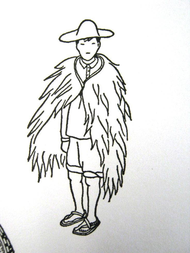 """""""The only official historical reference to Mexican woven rain capes I have found is in the book 'El Traje Indigena en Mexico' by Teresa Castello Yturbide and Carlotta Mapelli Mozzi, INAH 1965. The book shows a drawing of an Otomi man wearing a cape called a 'China'."""""""