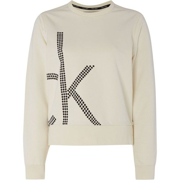 Calvin Klein Long sleeve jala logo sweat top (£80) ❤ liked on Polyvore featuring tops, hoodies, sweatshirts, cream, women, long sleeve cotton tops, cotton sweatshirt, cream long sleeve top, calvin klein tops and long sleeve sweatshirt
