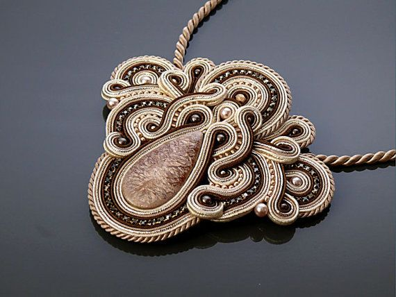 Beige brown Soutache necklace.