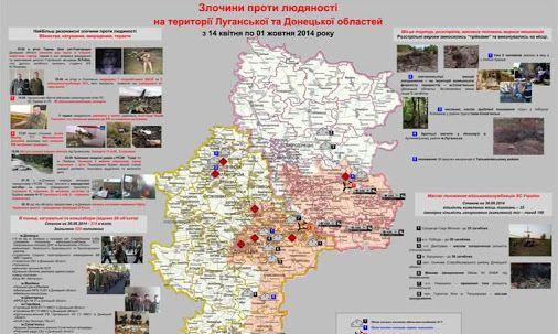СБУ начала создавать карту преступлений против человечности, совершенных террористами на территории Луганской и Донецкой областей.