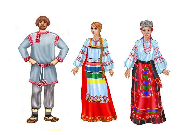 Днем, русская народная одежда картинки