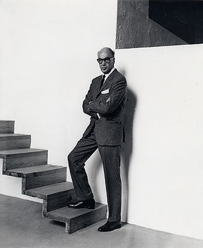 Luis Barragán with his cantilevered stairs, Casa Luis Barragán