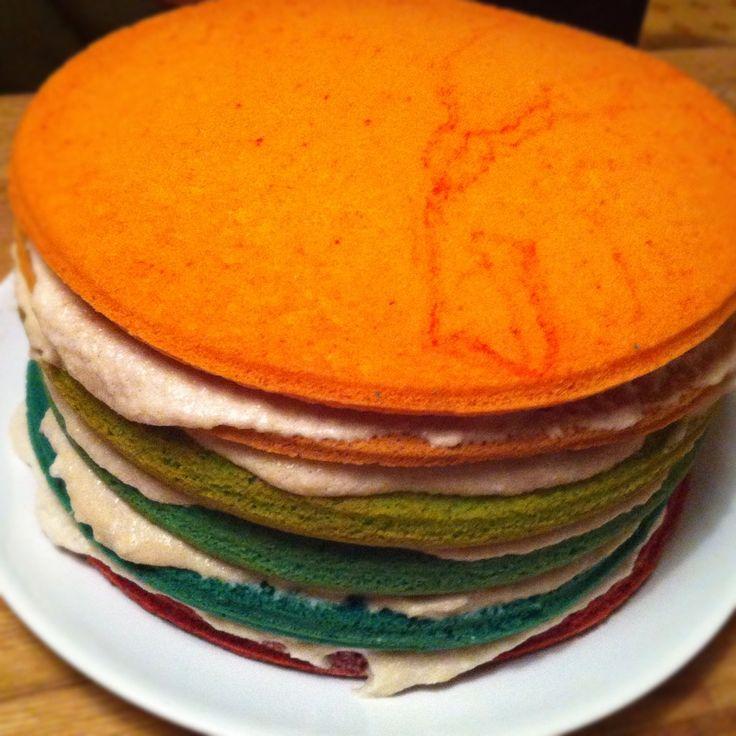 * La difficulté du Rainbow Cake se trouve essentiellement dans la réussite de la génoise. J'ai eu la chance de tomber assez rapidement sur une recette magique de génoise sur marmiton.org. * Cette r...