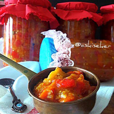 Kışlık Patlıcan ve Biber Konservesi Tarifi Nasıl Yapılır kahvaltılık ezme sos tarifi kolay nefis yöresel yemek tarifleri konserve yapmanın püf noktaları