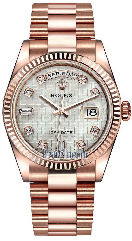 Rolex Day-Date 36mm Everose Gold Fluted Bezel 118235 White MOP Oxford Diamond President