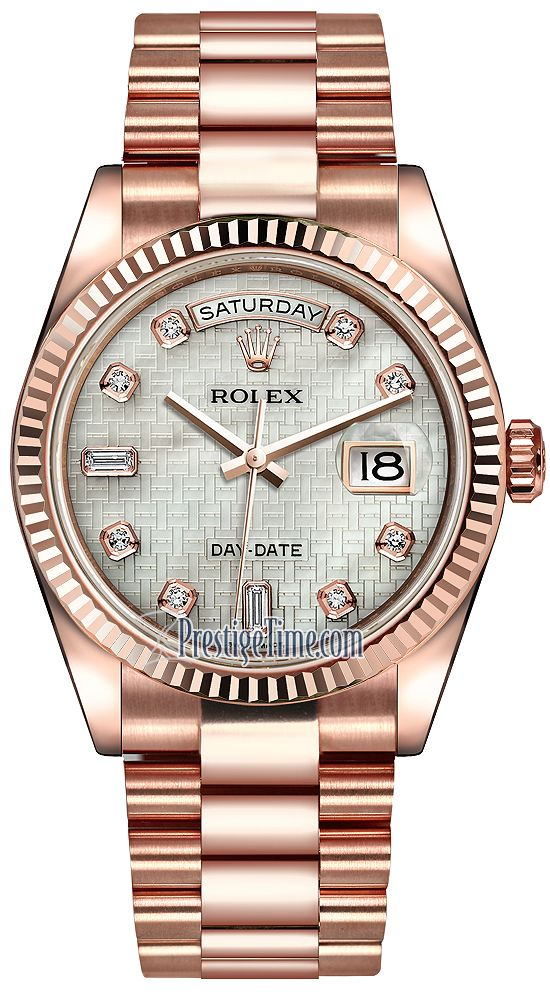 Rolex Day-Date 36mm Everose Gold Fluted Bezel 118235 White MOP Oxford Diamond President