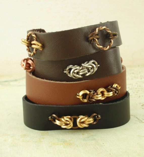 4 Leather and Chainmaille Bracelet Kits - Fast and Easy Jewelry Making on Etsy, $20.00