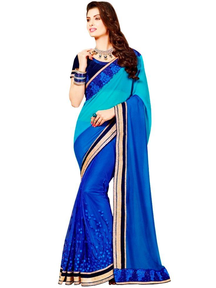 Georgette Jacquard Blue Heavy Border Party Wear saree