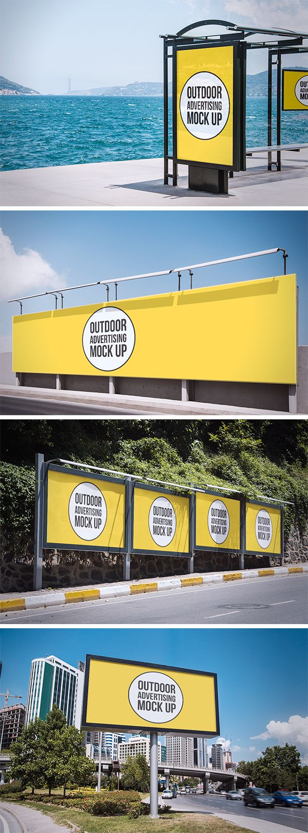 Here are 4 high quality, photo based outdoor advertising mock-ups that will present your work as displayed on different...