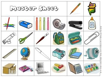 Here are 30 cards for you to play school supply bingo at the start of the school year.  These are 3x3 bingo cards as I find my students attention span at the beginning of the year is very short.  So I introduce 3x3 bingo cards first and then introduce the larger cards later in the year.