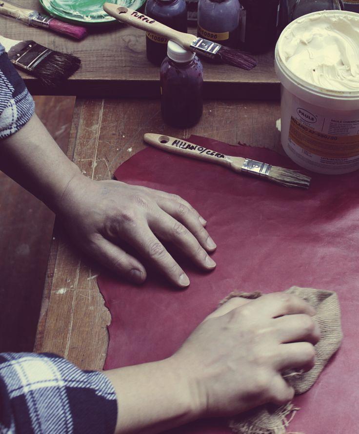 handmade creepers leather, creepers teñido piel a mano