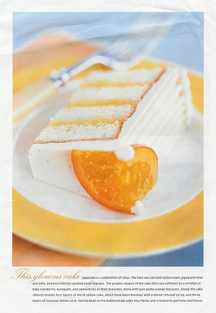 Vanilla wedding cake with orange filling... a fresh alternative to a heavy sponge cake - great for a Spring/Summer wedding