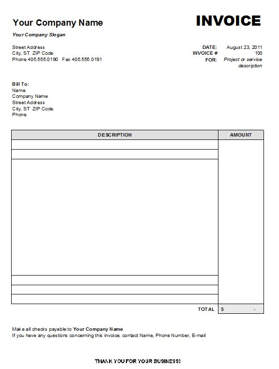 Blank Invoice Template Blankinvoice Org 2349090 - an image part of - bill sample microsoft