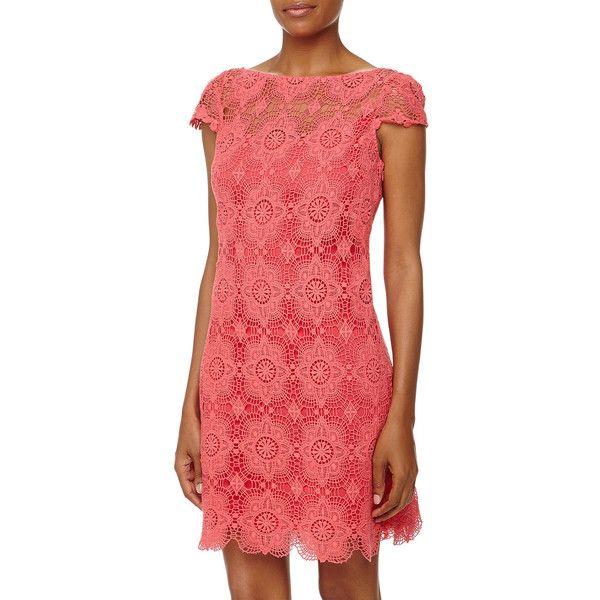 Ali Ro Cap-Sleeve Lace Shift Dress