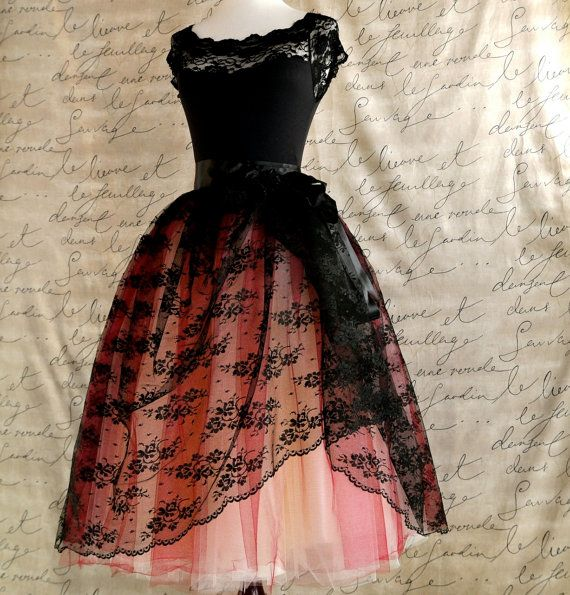 Black lace and red  tulle tutu skirt. French black chantilly lace over lined tutu skirt.