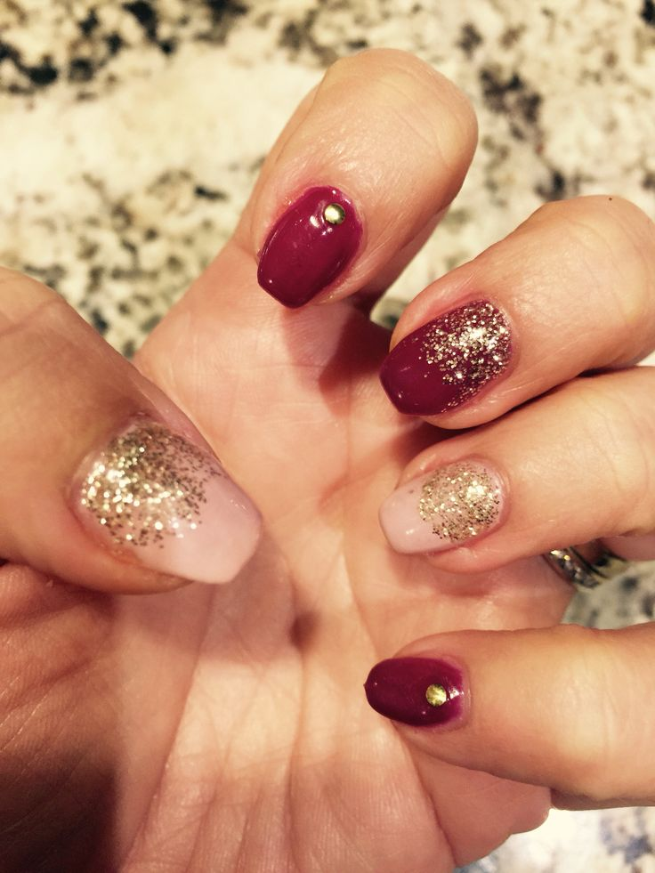 Burgundy with gold glitter fade
