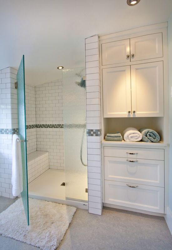 Shower room in white. Don't like cupboard fronts but idea is good.