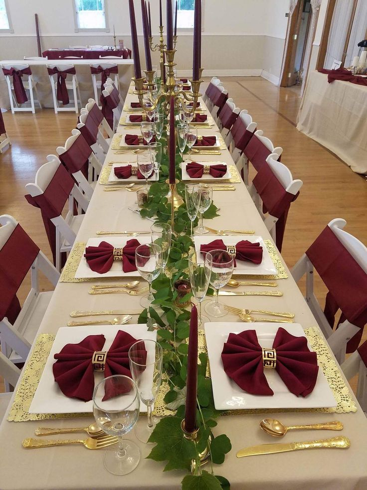 Burgundy Beige And Gold Table Setup Gold Wedding Decorations Burgandy And Gold Wedding