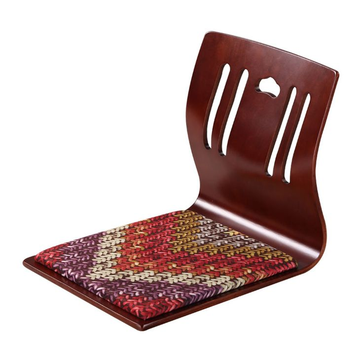 (4pcs/lot) Japanese Zaisu Chair Wholesale Brown Finish Velvet Cushion Asian Living Room Furniture Floor Tatami Legless Chair