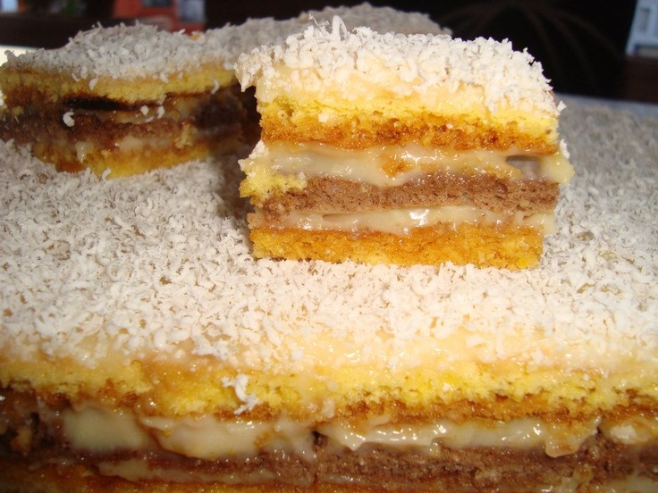 Romanian cake with cream caramel, cocoa and white chocolate. Recipe/ reteat in pm  message.