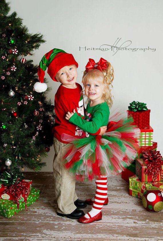 Christmas Tutu Set - red white green - Newborn Baby Tutu to Toddler Tutu. $25.00, via Etsy.
