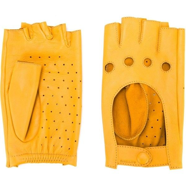 Zanellato Lady Z Gloves ($56) ❤ liked on Polyvore featuring accessories, gloves, yellow, zanellato, yellow leather gloves, yellow gloves, fingerless gloves and leather gloves