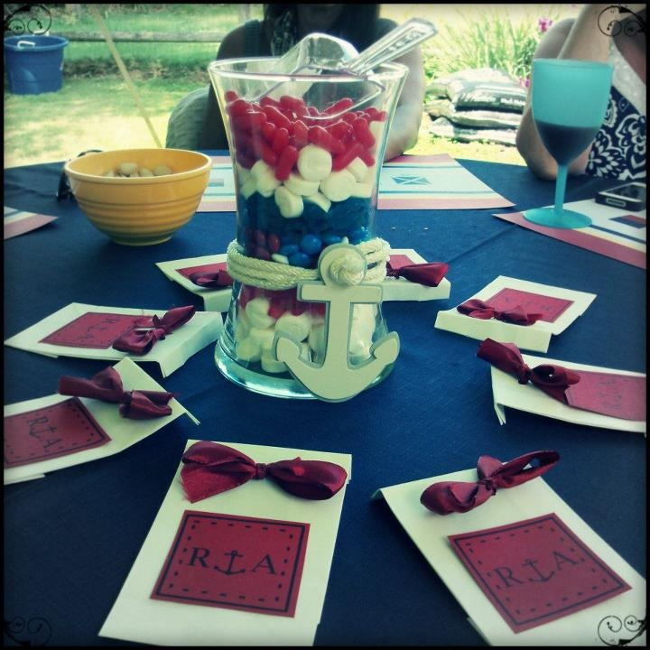 Nautical Decor Centerpieces: Bridal Shower Candy Vase Centerpiece. Nautical Theme