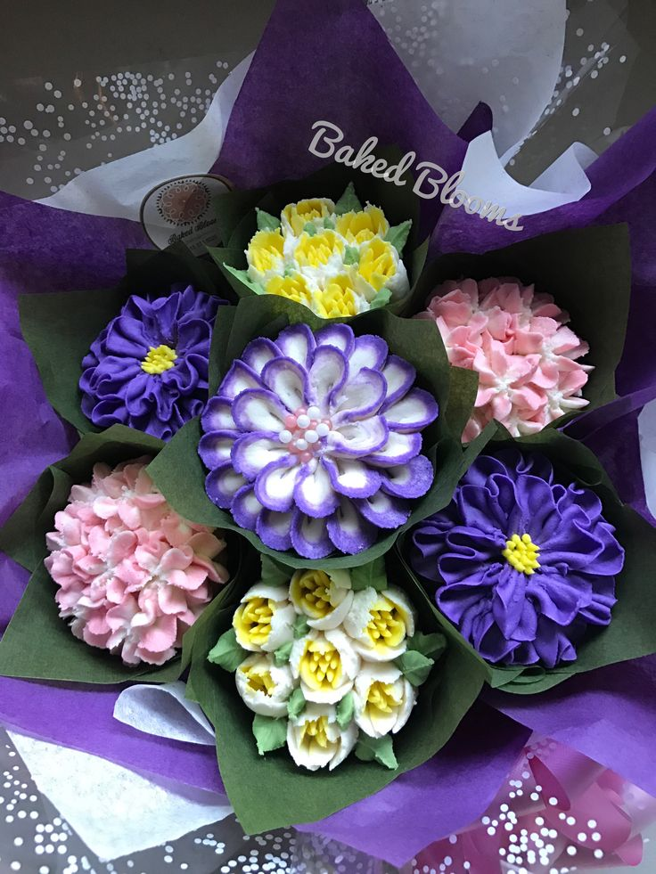 Small purple, pink, yellow bouquet www.bakedblooms.com
