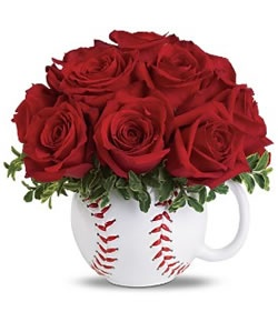 Maybe a red or white round bowl - same shape as a baseball    Play Ball Bouquet - Deluxe