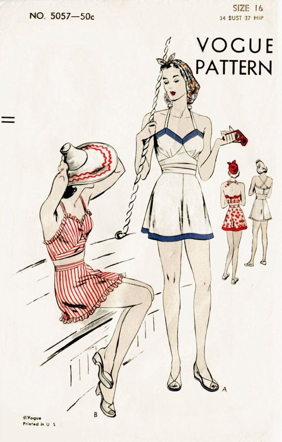 Lovely vintage beach playsuit pattern featuring a halter neck crop top and sun skirt
