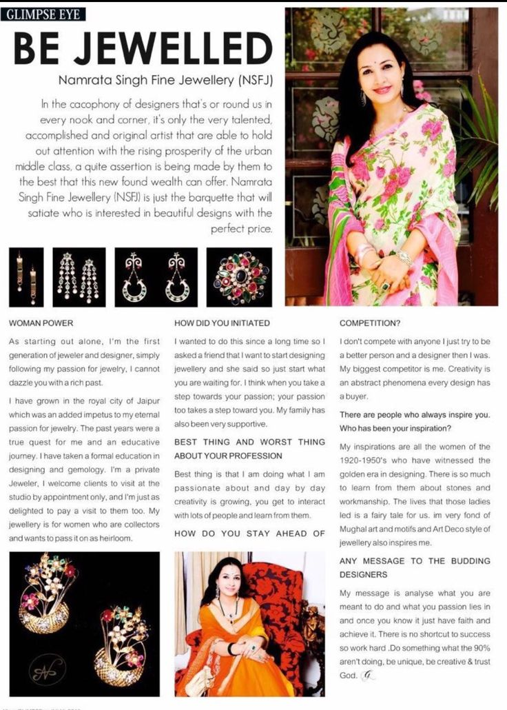 Namrata Singh Fine Jewellery covered by Glimpse Magazine -July 2016 issue