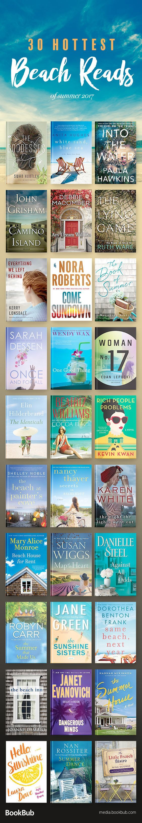 30 great beach reads to add to your summer reading list. This book list includes a lot of great genres, including thrillers, romance books, and more.