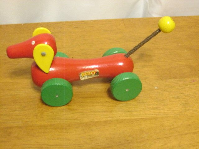 Vintage Brio Pull speelgoed miniatuur teckel Zweeds houten speelgoed door yesteryeaRedux op Etsy https://www.etsy.com/nl/listing/508577209/vintage-brio-pull-speelgoed-miniatuur